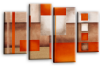 Cream grey orange abstract check multi panel canvas wall art picture print