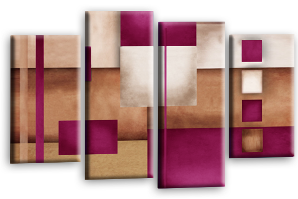 Cream grey plum abstract check multi panel canvas wall art picture print