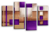 Cream grey purple abstract check multi panel canvas wall art picture print