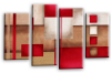 Cream grey red abstract check multi panel canvas wall art picture print
