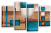 Cream grey teal abstract check multi panel canvas wall art picture print