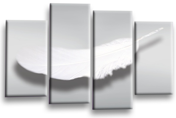 ... Grey White Dreams Feathers Canvas Wall Art Picture Print Multi Panel Wall  Art