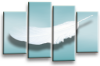 Teal Grey White Dreams feathers canvas wall art picture print multi panel wall art