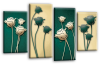 Green cream floral flowers multi panel canvas wall art picture print