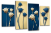 Blue cream floral flowers multi panel canvas wall art picture print