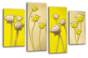 Yellow cream floral flowers multi panel canvas wall art picture print