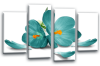 Teal white orchid flower floral canvas wall art picture print multi pane