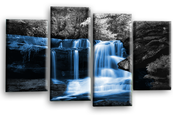 Blue grey Autumn forrest waterfall canvas wall art picture print multi panel