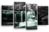 Duck Egg grey Autumn forrest waterfall canvas wall art picture print multi panel