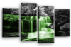 Green grey Autumn forrest waterfall canvas wall art picture print multi panel