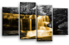 Orange grey Autumn forrest waterfall canvas wall art picture print multi panel