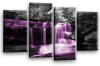 Purple grey Autumn forrest waterfall canvas wall art picture print multi panel