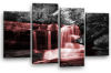 Red grey Autumn forrest waterfall canvas wall art picture print multi panel