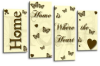 Cream gold brown grey Home quote canvas wall art picture print multi panel