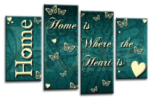 Teal white grey Home quote canvas wall art picture print multi panel