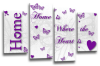 White purple grey Home quote canvas wall art picture print multi panel