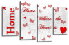 White red grey Home quote canvas wall art picture print multi panel