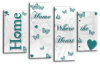 White teal grey Home quote canvas wall art picture print multi panel