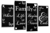 Black and white family quote multi panel canvas wall art picture print