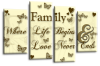 Cream gold brown grey family quote multi panel canvas wall art picture print