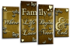 Gold Brown Cream grey family quote multi panel canvas wall art picture print
