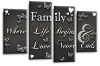 Dark grey white family quote multi panel canvas wall art picture print