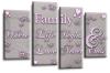 Powder grey pink family quote multi panel canvas wall art picture print