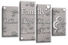 Powder grey white family quote multi panel canvas wall art picture print
