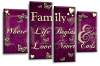 Purple cream family quote multi panel canvas wall art picture print