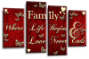 Red Cream grey family quote multi panel canvas wall art picture print