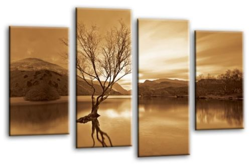 Sepia Cream Landscape lake mountains multi panel canvas wall art picture print