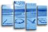 Seascape, sunset beach love in the sand canvas wall art picture print