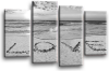 Seascape, sunset beach love in the sand 2 tone grey black canvas wall art picture print