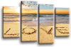 Seascape, sunset beach love in the sand orange grey canvas wall art picture print