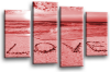 Seascape, sunset beach love in the sand 2 tone red canvas wall art picture print