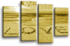 Seascape, sunset beach love in the sand 2 tone sepia canvas wall art picture print