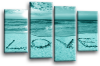 Seascape, sunset beach love in the sand 2 tone teal canvas wall art picture print