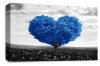 Blue Black White Love Heart Tree canvas wall art picture print