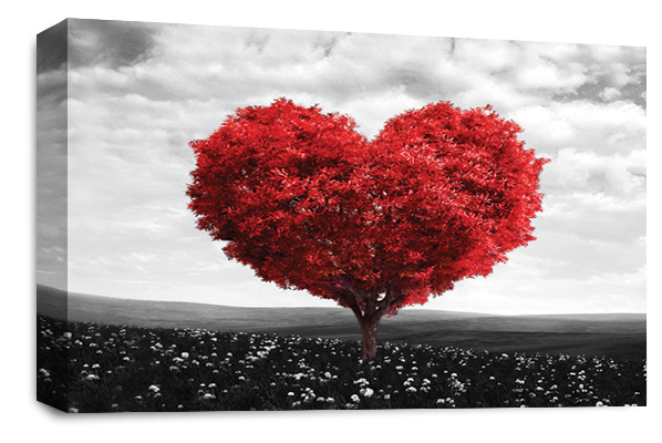 Red Grey Black White Love Heart Tree canvas wall art picture print