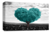 Teal Grey Black White Love Heart Tree canvas wall art picture print