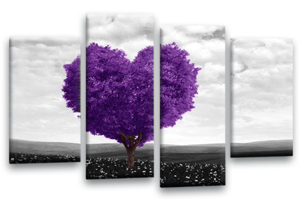Purple Grey Black White Abstract Love Heart Tree Canvas Wall Art Multi  Panel ...
