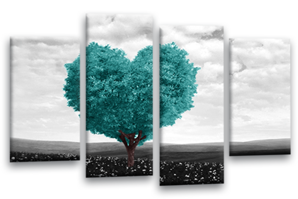 Charming ... Teal Grey Black White Abstract Love Heart Tree Canvas Wall Art Multi  Panel
