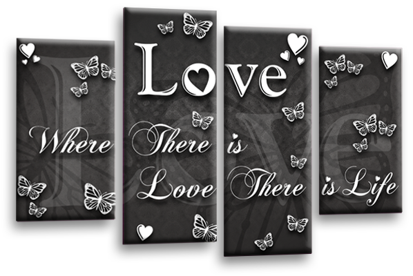 Love quote grey white canvas wall art picture print multi panel