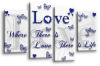 White Blue grey love quote canvas wall art picture print multi panel