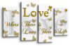 White Gold grey love quote canvas wall art picture print multi panel