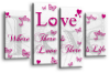 White Pink Plum grey love quote canvas wall art picture print multi panel