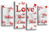 White Red grey love quote canvas wall art picture print multi panel