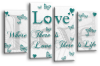 White Teal grey love quote canvas wall art picture print multi panel