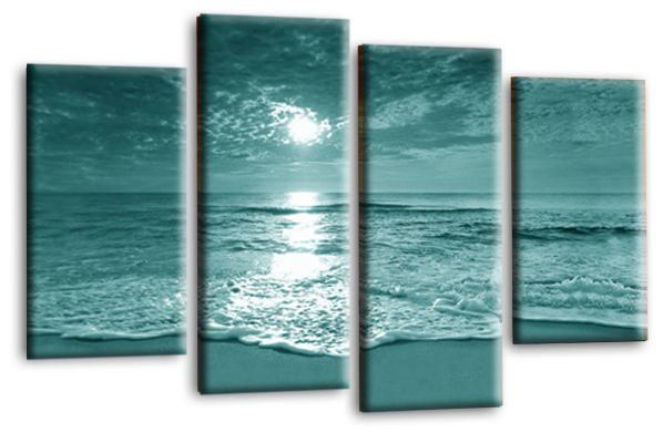 Seascape sunset beach teal canvas wall art picture print