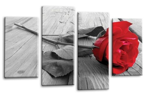 Red rose floral flower canvas wall art picture print multi panel